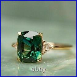 3.00Ct Cushion Cut Green Emerald Three-Stone Wedding Ring 14K Yellow Gold Finish