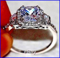 3.00Ct Engagement Ring 14kt White Real Gold Over Diamond Ring Vintage Bridal Set