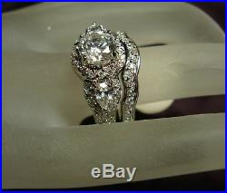 3.00ct Round Diamond Vintage Engagement Bridal Ring Set 14k White Gold Finish