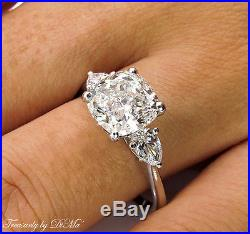 3.03ct Estate Vintage Cushion Diamond Engagement Wedding Ring 3 Stone Egl USA Pt