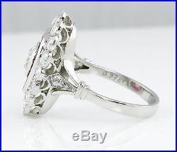 3.05ct Antique Vintage Diamond Ruby Cluster Engagement Wedding Ring Plat Egl Us