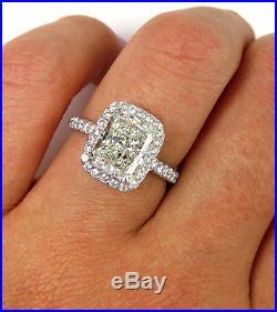 3.08ct Vintage Estate Radiant Diamond Engagement Wedding Ring Egl USA Halo Plat