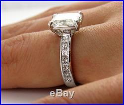 3.18CT VINTAGE ESTATE RADIANT DIAMOND ENGAGEMENT WEDDING RING EGL USA PLATINUM
