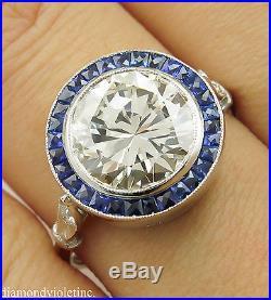 3.25ct Estate Vintage Round Diamond Sapphire Engagement Wedding Ring Plat Egl Us