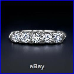 3/4 CARAT G-H VS DIAMOND VINTAGE WEDDING BAND PLATINUM 5 STONE RING ROUND 0.75ct