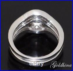 3.50 Wedding/Engagement Ring Women Vintage Bridal Set 10kt White Solid Gold