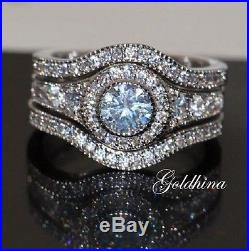3.50 Wedding/Engagement Ring Women Vintage Bridal Set 14kt White Real Gold