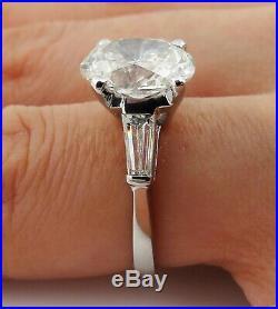 3.53ct Estate Vintage Oval Diamond 3 Stone Engagement Wedding Ring Egl USA Plat