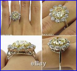 3.82ct Antique Vintage Yellow Old Mine Diamond Cluster Engagement Wedding Ring