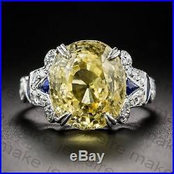 3.9CT Vintage Yellow Round Diamond Engagement & Wedding Ring Certified 14K Gold