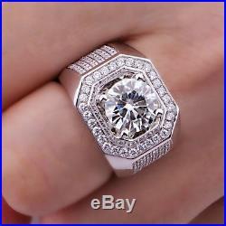 3 CT Round Diamond 10K White Gold FN 925 Silver Men Vintage Jewelry Wedding Ring