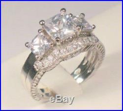 3 Ct Princess Trilogy Diamond Engagement Ring Vintage Bridal set White Gold ov