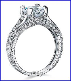 3 Ct Round Solid 14K White Gold Milgrain Vintage Design Engagement Wedding Ring