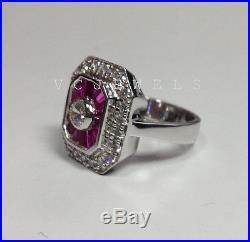 3 Ct White Round Diamond Engagement Wedding 10K White Gold Vintage Antique Ring