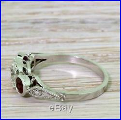 3 Stone 3 Ct Round & Ruby Diamond 14K White Gold Vintage Engagement Wedding Ring