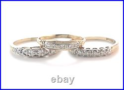 3 Vintage Real Diamond Wedding Bands Stackable Stack Rings 14k Gold Size 5.75