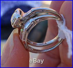 40ct Center H/VS. 34ct baguette diamond vintage bridal set ring band 14k WG