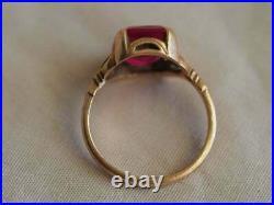 4Ct Emerald Brilliant Cut Ruby Vintage Engagement Ring 14K Rose Gold Finish