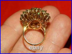 4Ct Oval Cut Halo Fire Opal & Green Emerald Engagement Ring 14k Yellow Gold Over