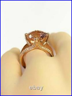 4Ct Round Cut Morganite Split Shank Solitaire Engagement Ring 14K Rose Gold Over