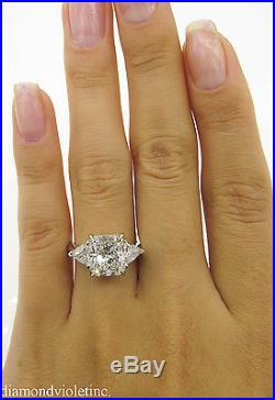4.12ct Estate Vintage Radiant Diamond 3 Stone Engagement Wedding Ring Plat Egl