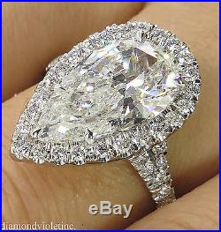 4.19ct Estate Vintage Pear Diamond Halo Engagement Wedding Ring Plat Egl USA