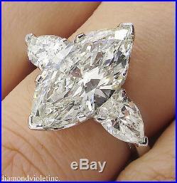 4.29ct Estate Vintage Marquise Diamond 3 Stone Engagement Wedding Ring Platinum