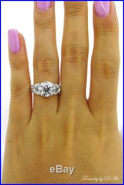 4.31ct Estate Vintage Round Three Stone Diamond Engagement Wedding Ring Plat