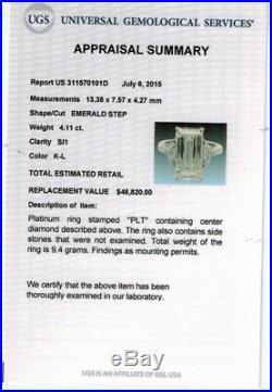 4.43ct Vintage Estate Emerald Cut Diamond Engagement Wedding Ring Plat Egl USA