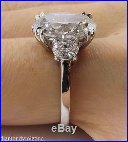 4 55ct Estate Vintage Oval Diamond 3 Stone Engagement