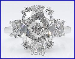 4.55ct Estate Vintage Oval Diamond 3 Stone Engagement Wedding Ring Platinum Egl