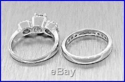 $5490 Vintage 14k Gold 1.32ctw F-G SI Diamond Engagement Ring Wedding Band Set