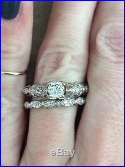 56ct Vintage Estate Old European Cut Diamond Engagement Ring Wedding Band Set