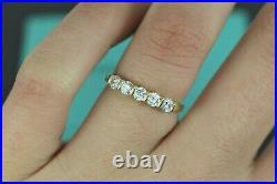 $5850 Vintage Tiffany Co. 60ct 18K Yellow Gold 5 Round Diamond Wedding Band Ring