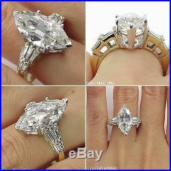 5.20ct Estate Vintage Old Euro Marquise Diamond Engagement Wedding Ring Egl USA