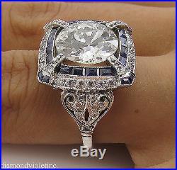 5.34ct Estate Vintage Old Euro Diamond Sapphire Engagement Wedding Ring Plat