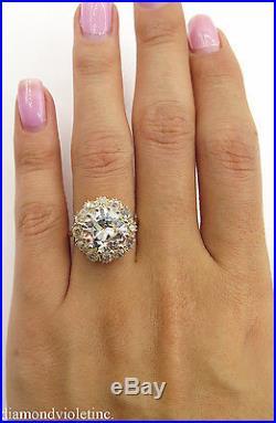 5.74ct Antique Vintage Old Euro Diamond Cluster Engagement Wedding Ring 14k Yg