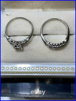 5.7G Antique Barrs 14K White Gold Diamond wedding Band Ring Set Size 8