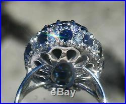 6ct Tanzanite Sapphire Diamond Vintage Halo Engagement 14K Ring White Gold GP