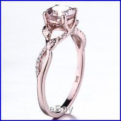 6mm Round Lady Vintage Morganite Bridal Engagement Diamonds Ring 14K Rose Gold