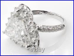 7.10ct Estate Vintage Trillion Diamond Engagement Wedding Ring 14k Wg Egl USA