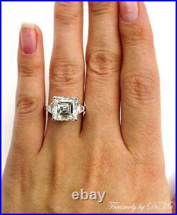 7.59ct Antique Vintage Deco Asscher Diamond Engagement Wedding Ring Plat Egl USA