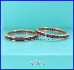 $8K Vintage Tiffany & Co 18K Yellow Gold 2.5mm Ruby Eternity Wedding Band Ring