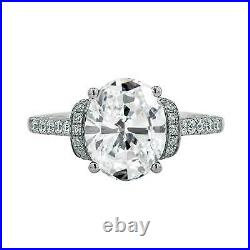925 Sterling Silver Wedding Engagement Ring Oval Cut Art Deco 2.25ct Moissanite