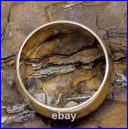 9ct Ring Gold Wedding Band 1980 Vintage Plain Wide Jewellery Bridal Womens Sz L