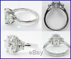 Ags 2.44ct Estate Vintage Oval Diamond 3 Stone Engagement Wedding Ring Platinum