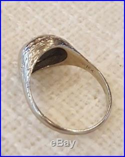 ANTIQUE 18K WHITE GOLD true ART DECO DIAMOND WEDDING RING size 6.25 vintage