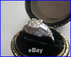 ART DECO 1.18 ctw. DIAMOND PLATINUM ENGAGEMENT WEDDING RING ANTIQUE VINTAGE