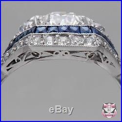 ART DECO VINTAGE 2.80CT ROUND WHITE DIAMOND 925 SILVER ENGAGEMENT WEDDING RING