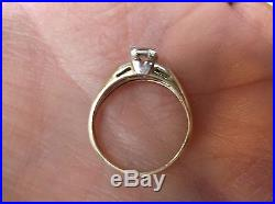 Amazing Vtg Antique 14k Yellow Gold & Diamond Solitaire & Accents Wedding Ring